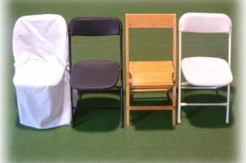 chair cover, black poly chair, golden varnished-oak wood chair, white poly chair