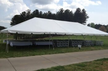 30'x50' frame tent, 18 – 8' tables and 96 chairs