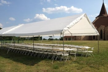 20'x50' frame canopy with 10 – 8' tables and 100 chairs