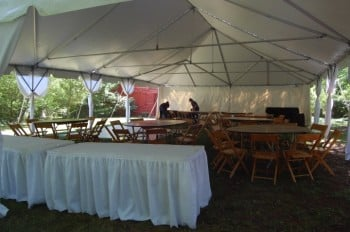 "4 – 6' tables, 7 – 60"" round tables, 56 wood chairs and 12'x12' dance floor"
