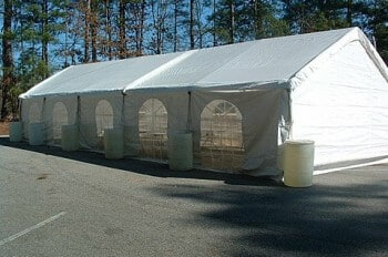 20'x50' frame canopy with window sidewalls and end gable