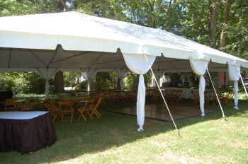 30'x50' frame tent with leg curtains