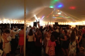 Approximately 50 people dancing on the 16'x16' dance floor